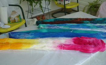 4 hanks of dyed superwash