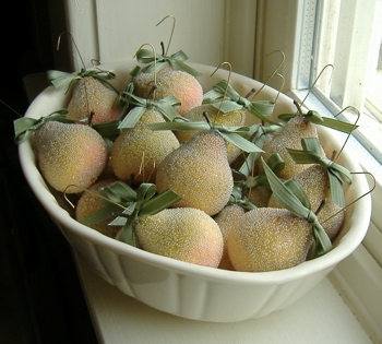 bowl full of glittered pears