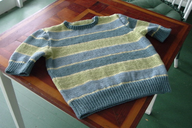 seamed sweater on table