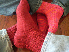 red and pink socks