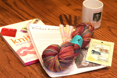 sock yarn, patterns, mug and magnets