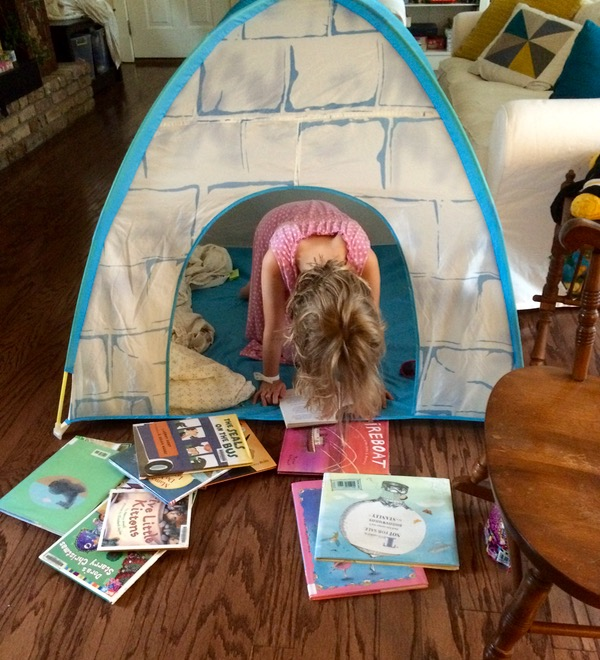 Tent is from Ikea.  You can fit a lot of books in a tent.