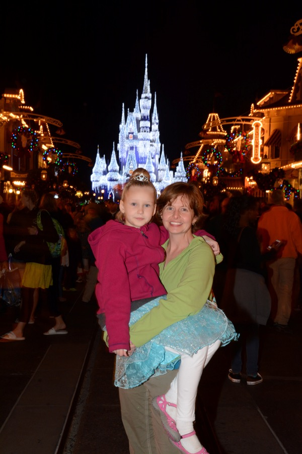 Cinderella Castle after Elsa had decorated it to celebrate Christmas in the Magic Kingdom at Disney World