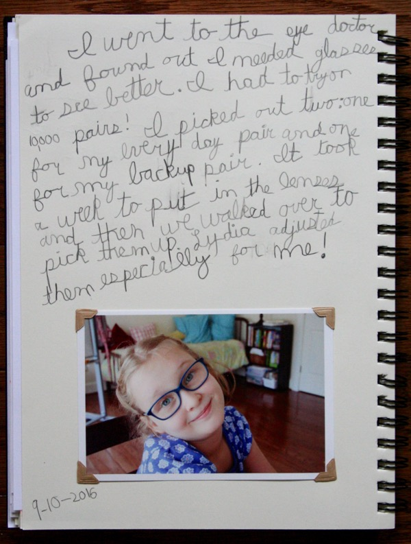 All about getting glasses in her Main Lesson Book.